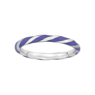 Personally Stackable Purple Enamel & Sterling Silver Twist Ring