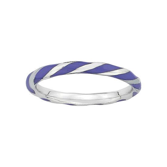 Personally Stackable Purple Enamel & Sterling Silver Twist Ring