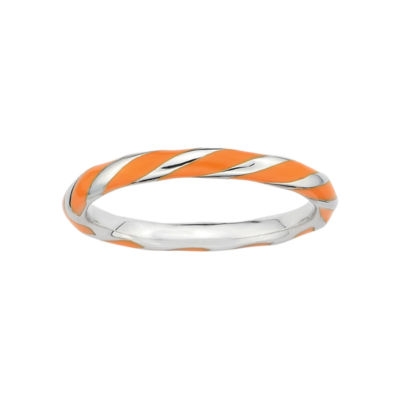 Personally Stackable Sterling Silver Orange Enamel Twist Ring