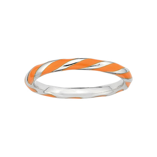 Personally Stackable Sterling Silver Orange Enamel Twist Ring