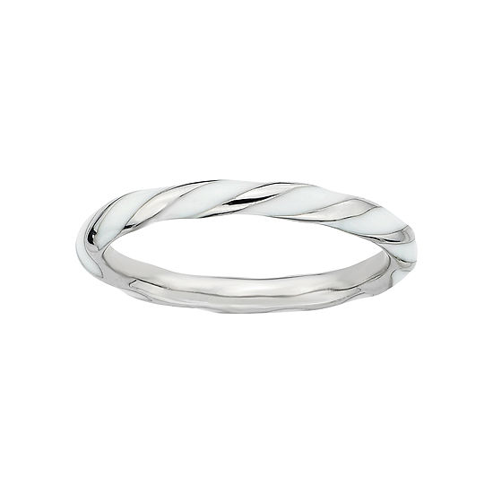 Personally Stackable Sterling Silver White Enamel Twist Ring
