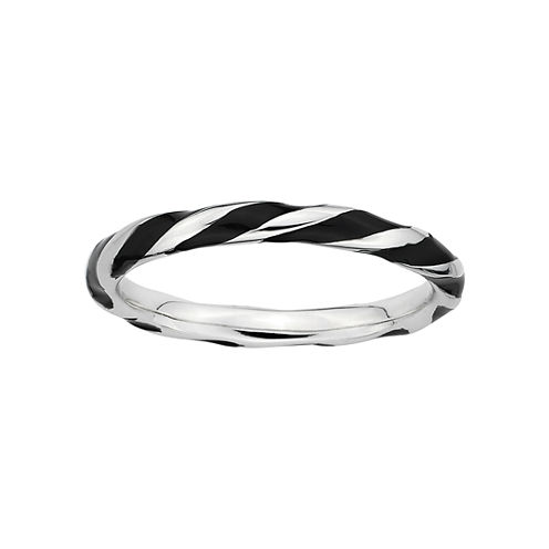 Personally Stackable Sterling Silver Black Enamel Twist Ring