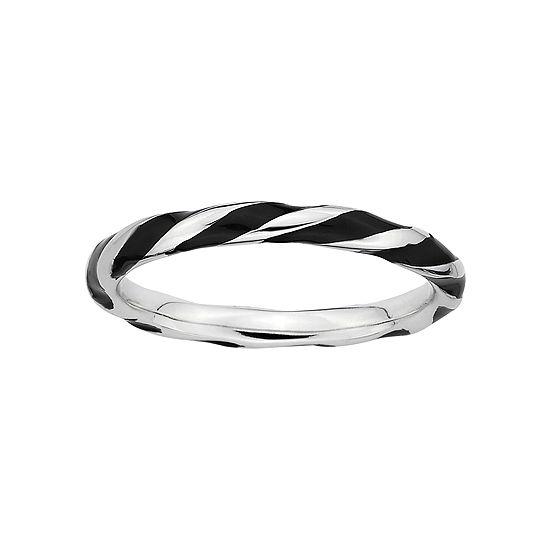 Personally Stackable Sterling Silver Black Enamel Twist Ring