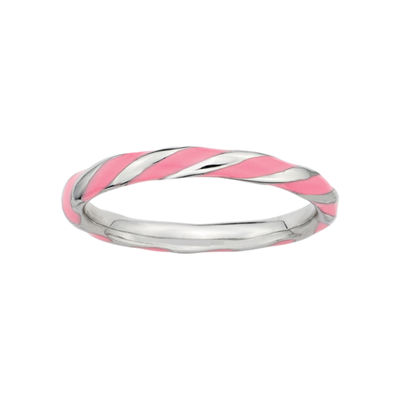 Personally Stackable Sterling Silver Pink Enamel Twist Ring