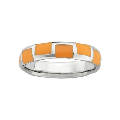 Personally Stackable Sterling Silver Orange Enamel Geometric Ring