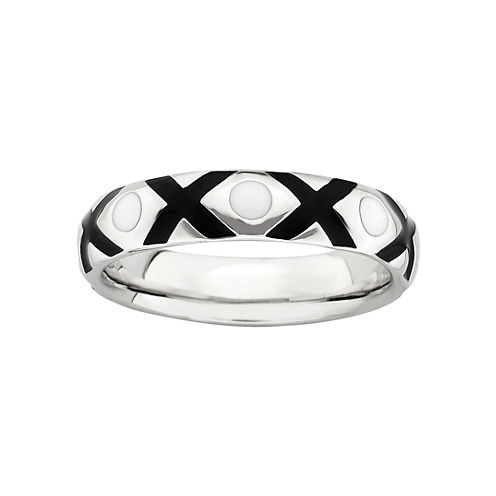 Personally Stackable Sterling Silver Black & White Enamel XO Ring