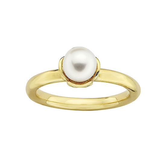 Personally Stackable 18k Gold Plated Sterling Silver Cultured Pearl Ring