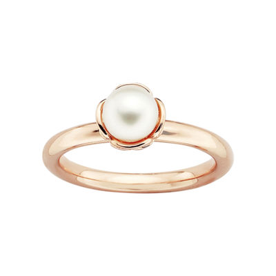 Personally Stackable Rose Rhodium-Plated Sterling Silver Pearl Ring