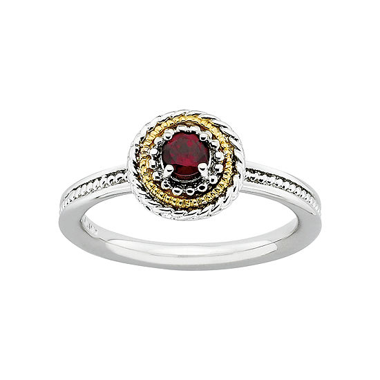 Personally Stackable Two-Tone Garnet Ring
