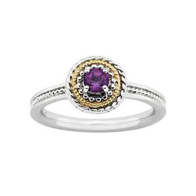 Personally Stackable Two-Tone Genuine Amethyst Ring