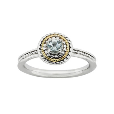 Personally Stackable Two-Tone Genuine Aquamarine Ring