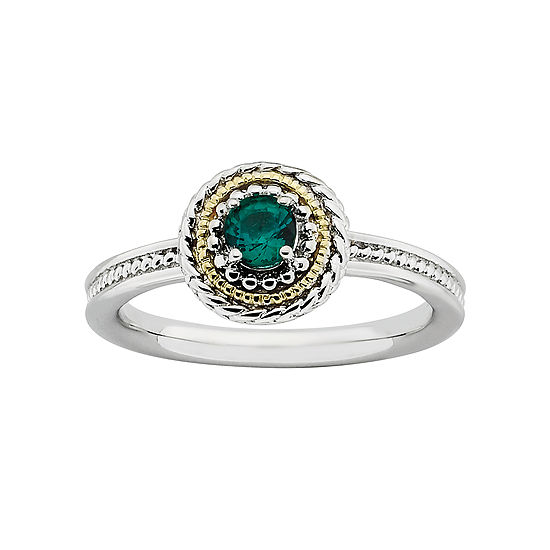 Personally Stackable Two-Tone Lab-Created Emerald Ring