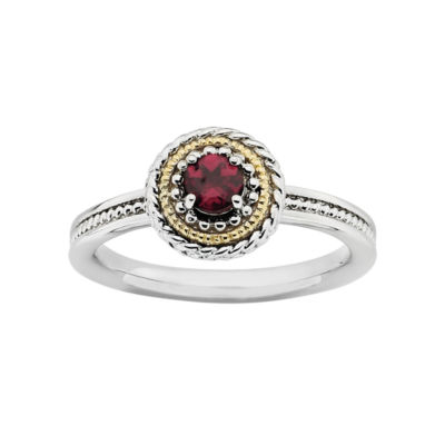 Personally Stackable Two-Tone Rhodolite Ring