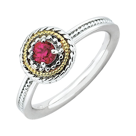 Personally Stackable Two Tone Lab Created Ruby Ring In 10k White Gold Over Sterling Silver
