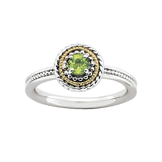 Personally Stackable Two-Tone Stackable Peridot Ring