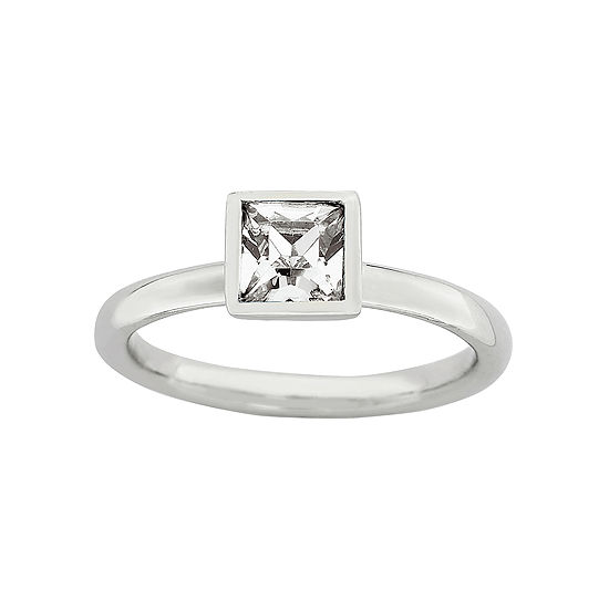 Personally Stackable Sterling Silver April Birthstone Crystal Ring