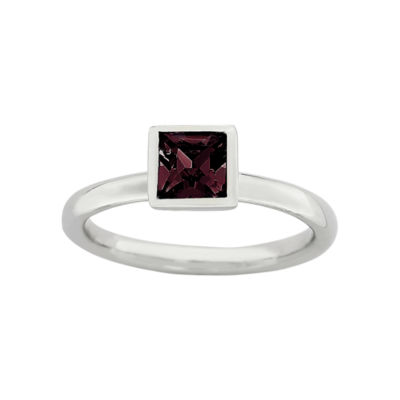 Personally Stackable Sterling Silver June Birthstone Crystal Ring