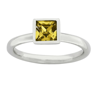 Personally Stackable Sterling Silver November Birthstone Crystal Ring