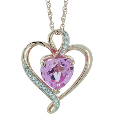 Lab-Created Pink & White Sapphire Heart Pendant Gold Over Sterling  Necklace