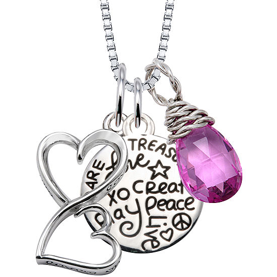 Love Grows Womens Genuine Pink Amethyst Sterling Silver Heart Pendant Necklace