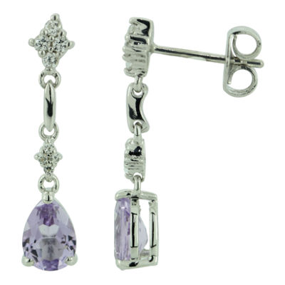 Genuine Amethyst and Lab-Created White Sapphire Sterling Silver Drop Earrings