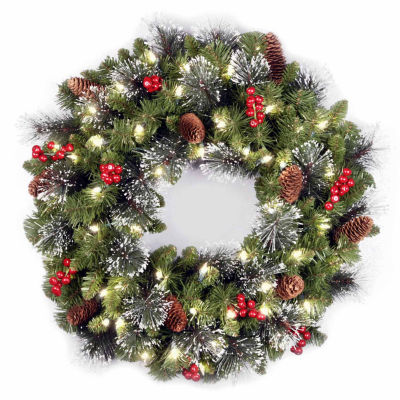 "National Tree Company® 24"" Crestwood Spruce Battery-Operated LED Wreath"