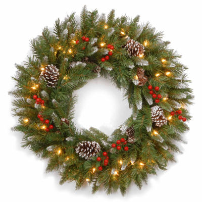 """National Tree Company® 24"""" Frosted Berry Pre-Lit Wreath"""
