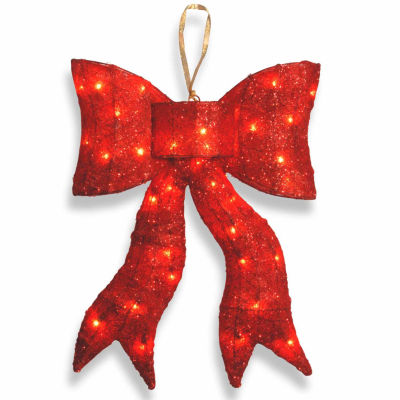 """National Tree Company® 24"""" Red Wavy Sisal Bow with Clear Indoor/Outdoor Lights"""