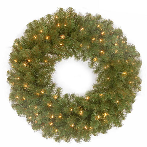 "National Tree Company® 24"" North Valley Spruce Battery-Operated Dual LED Wreath"