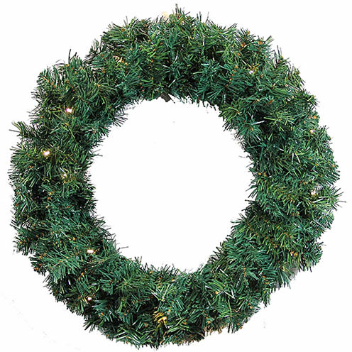 "24"" Pre-Lit Green Cedar Pine Artificial Christmas Wreath - Warm White LED Lights"