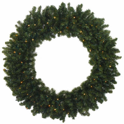 "30"" Pre-Lit Battery Operated Canadian Pine Christmas Wreath with Clear LED Lights"