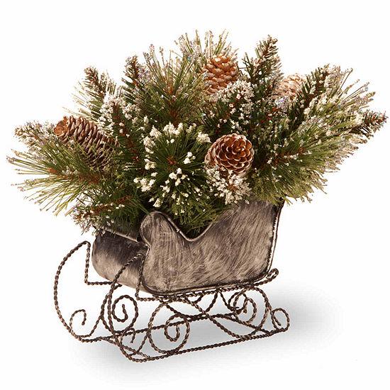 National Tree Co 10' Glittery Bristle Pine Sleigh