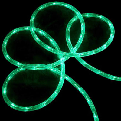 """18' Green LED Indoor/Outdoor Christmas Rope Lights with 2"""" Bulb Spacing"""