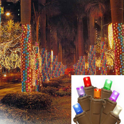 2' X 8' Multi-Color LED Net Style Tree Trunk WrapChristmas Lights with Brown Wire