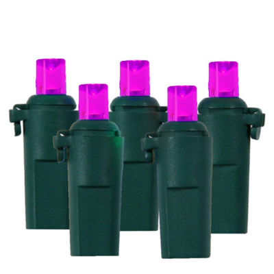 Set Of 60 Pink & Purple LED Wide Angle Christmas Lights with Green Wire
