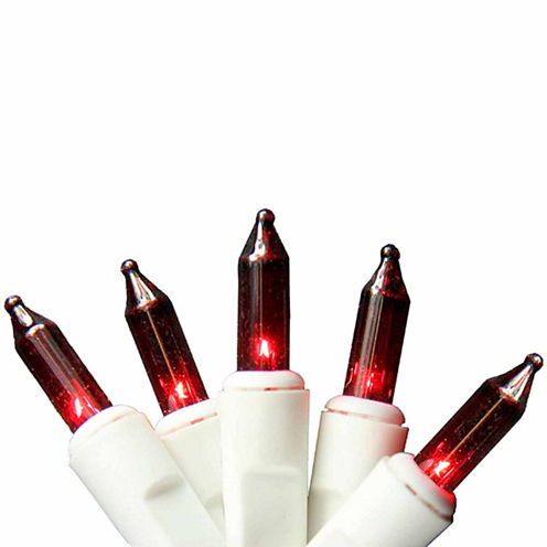 """Set of 100 Red Mini Icicle Christmas Lights 2.5"""" Bulb Spacing 22 AWG with White Wire"""