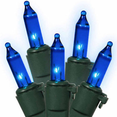 """Set Of 100 Blue Commercial Grade Mini Christmas Lights 5.5"""" Spacing With Green Wire"""