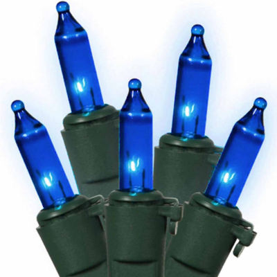"Set Of 100 Blue Commercial Grade Mini Christmas Lights 5.5"" Spacing With Green Wire"