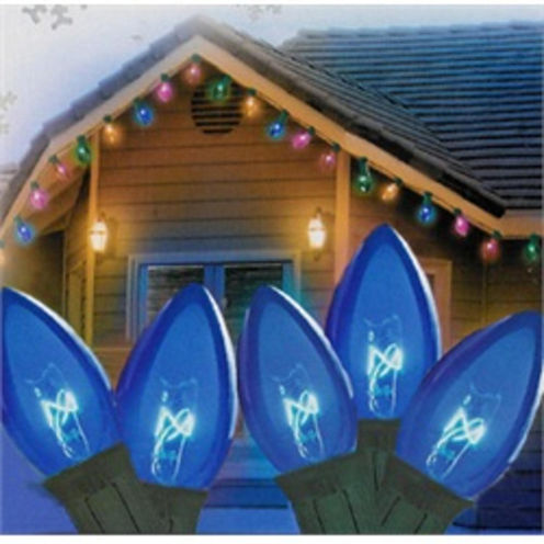 "Set Of 25 Transparent Blue C7 Christmas Lights 12""Spacing with Green Wire"""