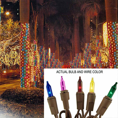 2' X 8' Multi Mini Christmas Net Style Tree TrunkWrap Lights with Brown Wire