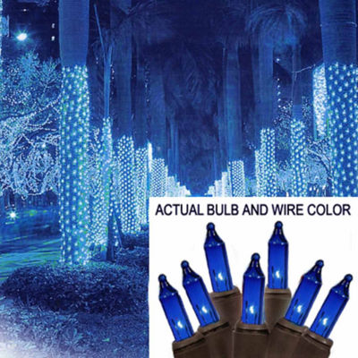 2' X 8' Blue Mini Christmas Net Style Tree Trunk Wrap Lights with Brown Wire