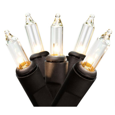"Set Of 50 Clear Mini Christmas Lights 2.5"" Bulb Spacing with Black Wire"