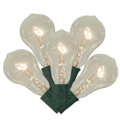 Set of 10 Transparent Clear PS50 Edison Style Christmas Lights with Green Wire