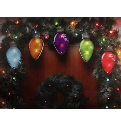 7.25' Multi-Color Shimmering C7 Bulb Christmas Light Garl& With 10 Clear Mini Lights with White Wire