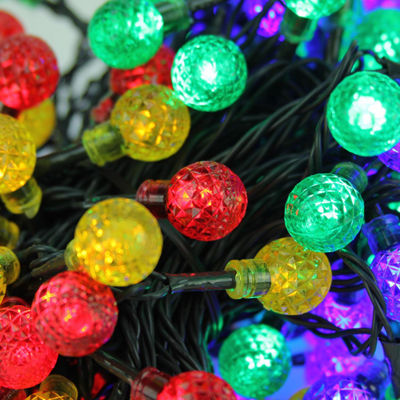 Set of 240 Multi-Color LED G20 Globe Christmas Lights with Green Wire
