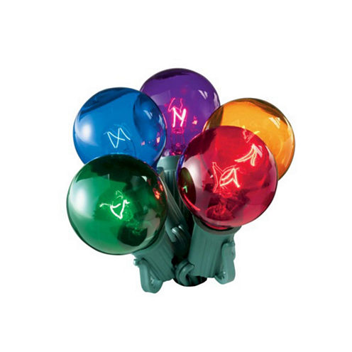 Set of 20 Multi-Color Transparent G50 Globe Christmas Lights with Green Wire