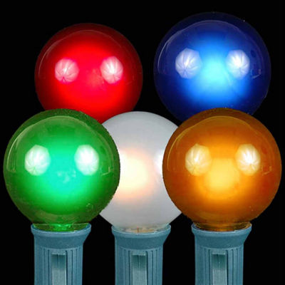 Set of 20 Multi-Color Opaque G50 Globe Christmas Lights with Green Wire