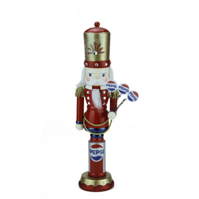 "12"" Red, Blue & White Wooden ""Pepsi"" General Nutcracker"