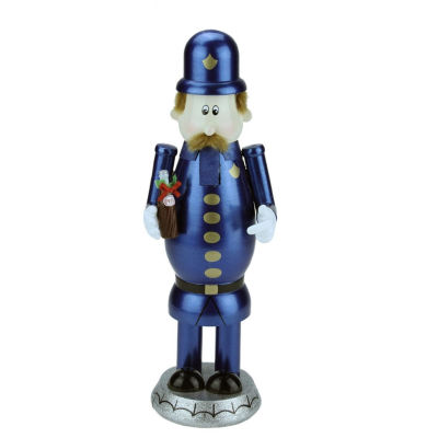 "12"" Blue, Gold & Black Wooden ""Pepsi"" Pete Nutcracker"