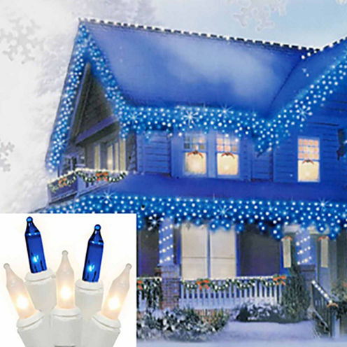 Set of 100 Blue & Frosted Clear Mini Icicle Christmas Lights with White Wire